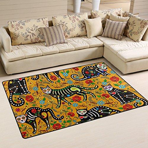 Naanle Blumen-Rutschfeste Bereich Teppich für Dinning Wohnzimmer Schlafzimmer Küche, 50x 80cm (7x 2,6m), mit Tier-Kinderzimmer-Teppich Boden Teppich Yoga-Matte