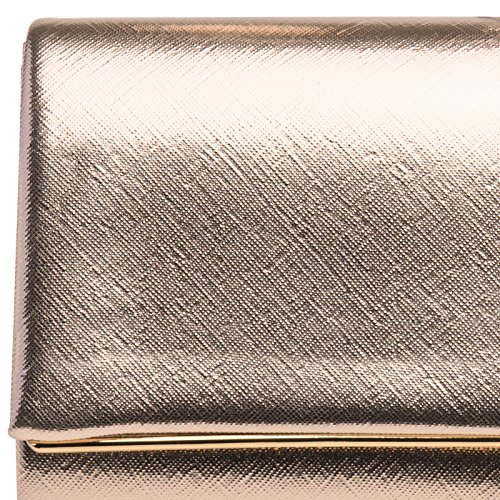 CASPAR TA361 Donna Pochette Elegante da Sera Metallizzata / Opaca oro rosa