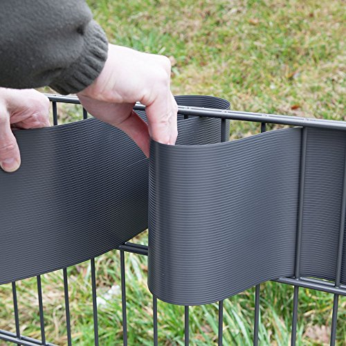 10 Sichtschutzstreifen Moosgrün im Set – Hart PVC -Sichtschutz – Windschutz – Zaunstreifen zum Einflechten – Doppelstabmatten Zaun – Stabgitterzäune