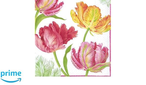 Multicolore Caspari 13700D Paquet de 20 Serviettes Dinner Fleurs De Mariage 20x20x0,02 cm Tissu