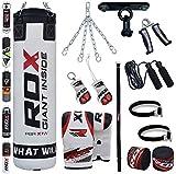 Купить RDX Boxsack Set Gefüllt Kickboxen MMA Kampfsport Muay Thai Boxen mit Deckenhalterung Stahlkette Training Handschuhe 13 PC Schwer 4FT 5FT Punching Bag