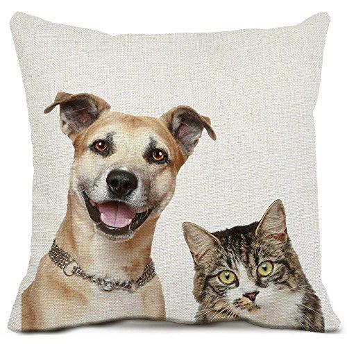 Mops Hund dekorative Wurfkissenbezüge Baumwolle Leinen Platz Kissenbezüge Tier Welpen und Katze Kissenbezüge für Sofa Couch Home Decor 18 x 18 Zoll Super Stich Mop