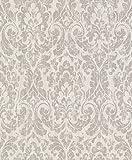 rasch Vlies-Tapete, braune Ornamente auf Beigem Grund, Shabby Chic, Klassisches Muster, Souvenir 516210, Elfenbein,