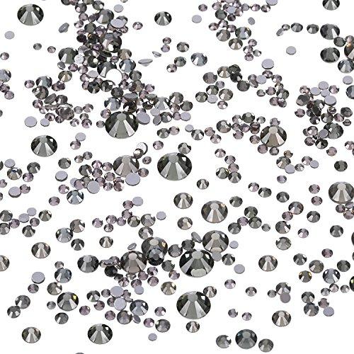 Willbond 1440 Stück Gemischte Größen Flache Rückseite Strasssteine Glas Runde Kristalle Nagel Kunst Steine 1,5 mm - 6 mm, 6 Größen (1,5 mm, 2 mm, 2,5 mm, 3 mm, 4,5 mm, 6 mm) (Kristall Grau)