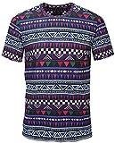 Pizoff Unisex Schmale Passform T Shirts mit 3D Bunt Azteken Digital Print Muster und Seit reissverschluss Y1778-06-XL
