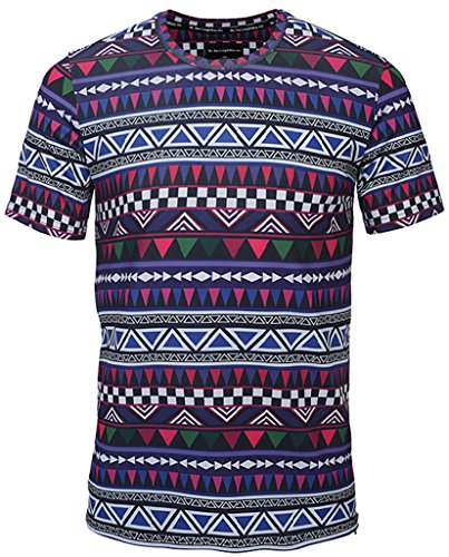 Pizoff Unisex Schmale Passform T Shirts mit 3D Bunt Digital Print Muster und Reißverschlüssen an der Seite Y1778-06