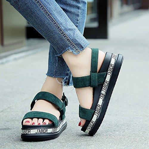 Lgk & fa estate sandali di spessore sandali da donna estate Leisure muffin fondo toe Flats scarpe fibbia green