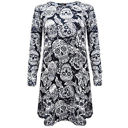 iPretty Dame Frauen Halloween Print Design lange Ärmel Party Kleid Swing Mini (Dark Frauen Kostüm Für Angel)
