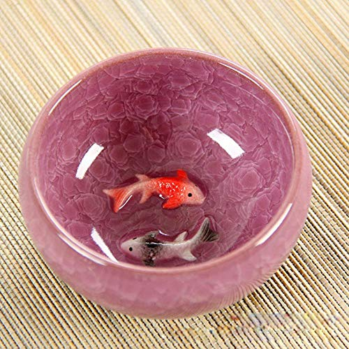 ZMCW 3D Keramik Doppel Fisch, Crackle Glaze Travel Teeschale Teetasse Porzellan Teetasse Sets, 04 - Crackle Glaze