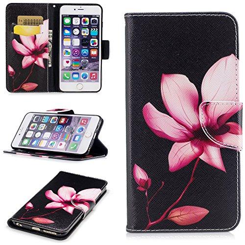 iPhone 6 / 6S Plus (5.5 pouce) Coque , PU Cuir Étui Protection Wallet Housse la Haute Qualité Pochette Anti-rayures Couverture Bumper Magnétique Antichoc Case Anfire Cover pour iPhone 6 Plus - Panda Rouge Lotus