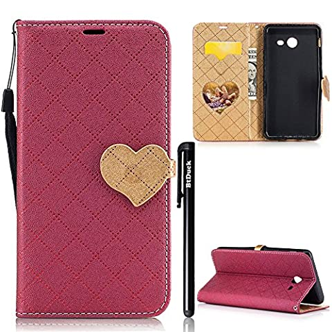 BtDuck Leather Solid color Case Samsung Galaxy J5 2017 Red wine Tartan Shining Bling Bling Passionate Gold Love Dance Packs Enthusiasm For Sexual And Exuberant Woman PU Phone Stand Protector Flip Folio Cover Anti-slip Skin Outdoor Protection Simple Strict Shockproof Heavy Duty Robust Bumper Case Shell with Stander Oyster Card ( Travel Card Bus Pass ) Holder Slots Pocket Kickstand Function Heart-shaped Magnetic Closure Love The Family's Photo Pocket + 1 * Black Stylus Pen