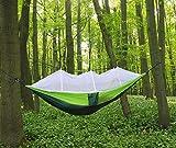 Lovebay Hamaca con mosquitera para camping o selva, 2personas, tela de paracaídas, portátil, al aire libre, para colgar, correas, cuerdas y mosquetones, para camping, senderismo, viajes con mochila, Dark green+Green