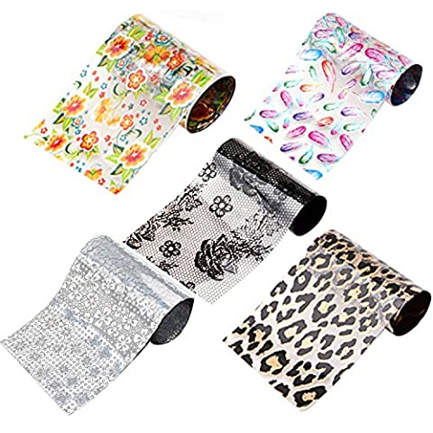 5 PCS Flower Leopard Print Feather Style Nail Art Transfer Stickers Decals Stamping DIY Decorations Nail Polish Sticker