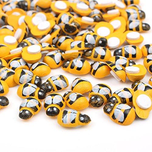 dojore 50x Holz 3D Bumblebee Aufkleber (8mm x 12mm) Bienen für Scrapbooking, Karten & Dekorieren