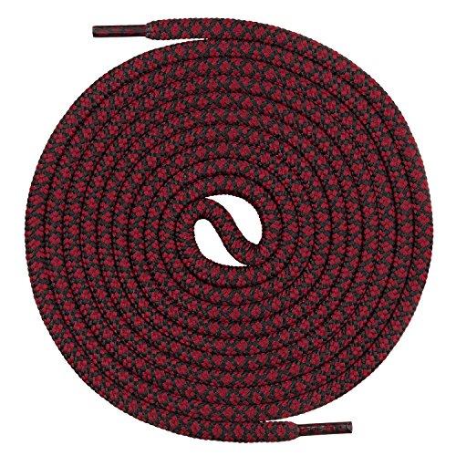 Mount Swiss runde Premium-Schnürsenkel für Arbeitsschuhe Wanderschuhe und Trekkingschuhe - 100% Polyester - extrem reißfest - ø 5 mm - Farbe Weinrot-Schwarz Länge 140cm