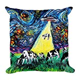 Meg121ace Alien Abduction Cows UFO Throw Pillow Funny Gift Van Gogh Was Never Abducted by Aja - Cojín de Peluche (40,6 x 40,6 cm)