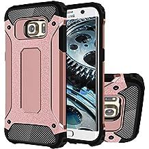 Galaxy S6 Edge Funda, HICASER Híbrida Case [Heavy Duty] Rugged Armor Cover, Dual Layer Shock Resistant Carcasa para Samsung Galaxy S6 Edge Rose Dorado