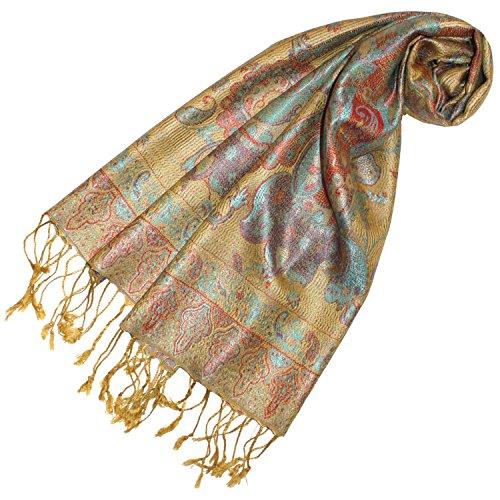 LORENZO CANA - Luxus Seidenschal Schal 100% Seide jacquard gewebt harmonische Farben mit Fransen 35 x 160 cm Paisley Muster Seidentuch 78247 (Damen Italienischer Schal Seide)