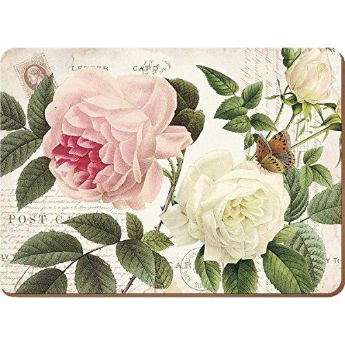 Creative Tops-Biglietti Rose Garden, Tovagliette all'americana in sughero naturale e legno, colore: rosso, 4 pezzi, misura grande