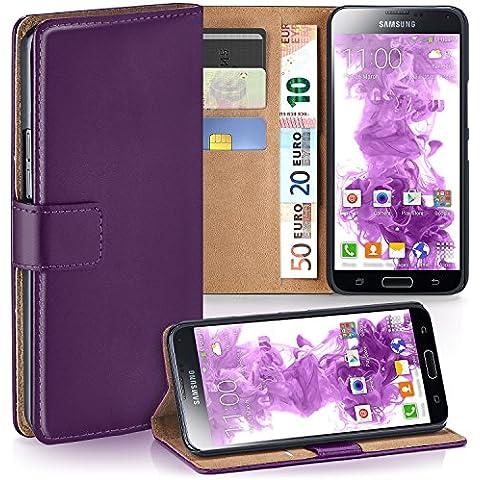Bolso OneFlow para funda Samsung Galaxy S5 / S5 Neo Cubierta con tarjetero | Estuche Flip Case Funda móvil plegable | Bolso móvil funda protectora accesorios móvil protección paragolpes en Viola