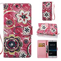 HUAWEI P9 Lite Case, Iddi-Case Fashion Cute Pattern Luxury Pu Leather Wallet Magnetic Design Flip Folio Protective Case Cover with Card Holder - Flowers