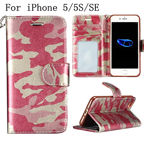 iPhone SE/5/5S Wallet Case,Heyqie(TM) Army Camouflage Premium Leather Folio Case Wallet and Kickstand Function Magnetic Closure Protective Shell Wallet Case Cover for Apple iPhone SE 5S 5 - Rose Rose