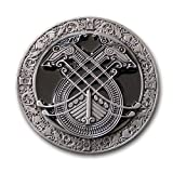 Buckle Gürtelschnalle Celtic Norse Wikingerschiff keltische Hunde schwarz + Geschenksäckchen