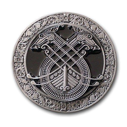 Life Art Buckle Belt Buckle Celtic Norse Celtic Viking Ship Dogs Black + gift sachets