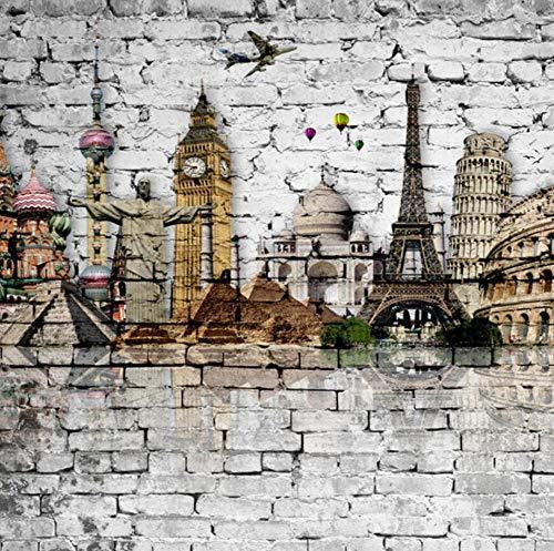 Custom 3D Mural Wallpaper Roll Classic European Architecture Eiffel Tower, Big Ben, Statue of Liberty Brick Wall Paper Murals 3D,250 * 175cm