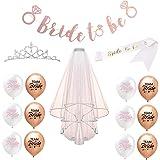 Tumao JGA deko Accessoires 16 Stück Bride to Be Accessoires Set,Latex Luftballoons+Krone+Satin Schärpe+Banner+weißer Schleier für Braut Dusche Henne Nacht Party Lieferungen.
