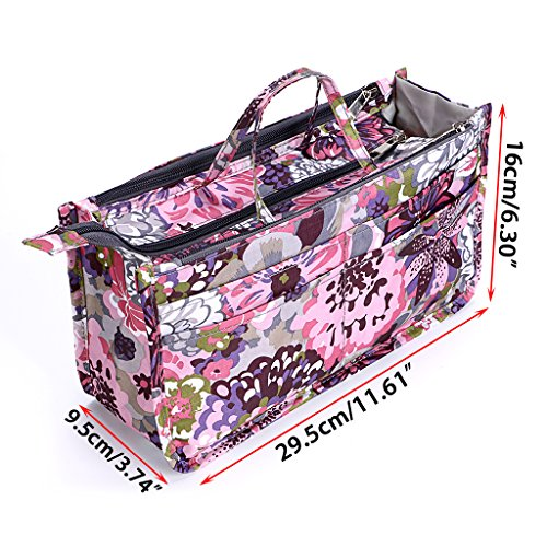 Printed Insert Handbag Organiser with Handle - Peony