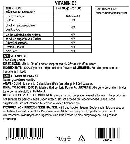 Bulk Powders Vitamin B6 Pulver, 100 g