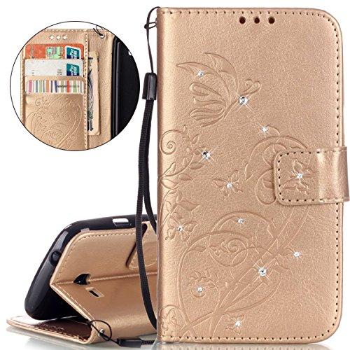 ISAKEN compatibile con Galaxy Trend Lite S7390 S7392 Cover - Libro Wallet Flip Case Portafoglio Custodia in PU Pelle Tinta Unita Cover Glitter Diamante Caso con Supporto di Stand/Carte Slot, Oro