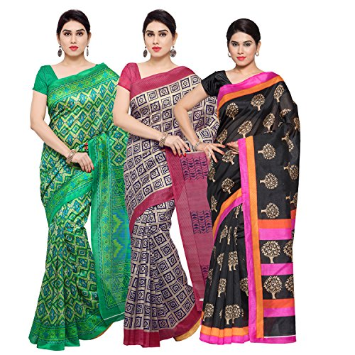 Oomph! Women's Raw Silk Printed Sarees Combo - Multi_combo3_beigetr16greentr