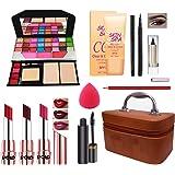 Volo All In One Makeup Kit (3 Lipstick,Eyeshadow,Foundation,Kajal,Mascara, Lipliner,Puff 1 Makeup Box) Set Of 11Pcs.