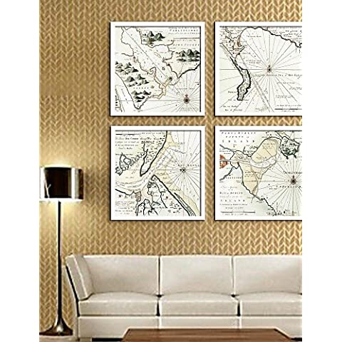 e-HOME arte lienzo enmarcado, mapa enmarcado lona de ajuste de impresión de 4