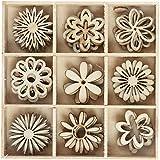 Streudeko Bastelset aus Holz 45-teilig Blumen oder Schmetterlinge zum kleben geeignet• 2 Varianten zur Auswahl Blumen oder Schmetterlinge • Streudekoration Dekoration Frühling Sommer (Auswahl Blumen)