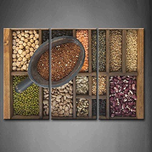 3-paneles-de-pared-arte-brown-cuchara-de-rojo-quinua-y-una-variedad-de-granos-grano-semillas-en-old-
