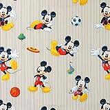 Fabulous Fabrics Disney Sport Mickey 1 beige — Meterware ab 0,5m — zum Nähen von Kissen und Tagesdecken, Tischdekorationen und Vorhängen