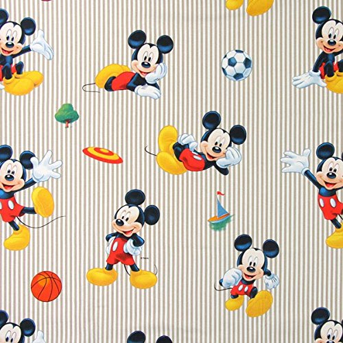 Fabulous Fabrics Disney Sport Mickey 1 beige - Meterware ab 0,5m - zum Nähen von Kissen, Tischdecken und Vorhänge