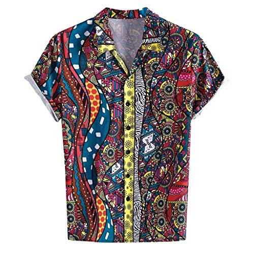 Sleeve V-neck Henley (Herre Shirt Kurzarm Funky Sommerhemd Revers Henley Tops Printed T-shirt Männer Casual Regular Fit Oberteile PPangUDing Loose Fit Hemden Hoodie Muskelshirt Freizeithemd (M, rot))