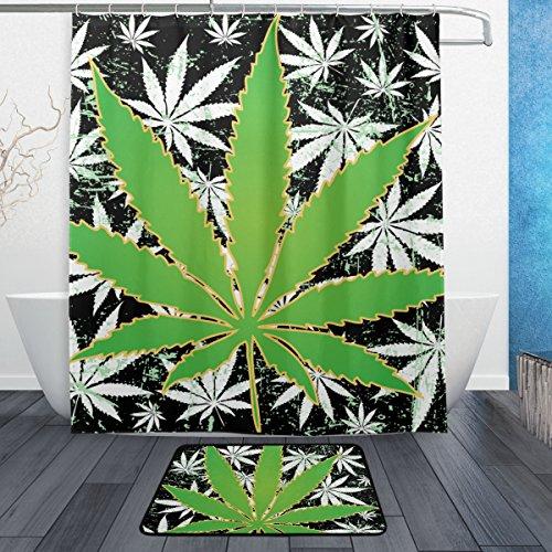 ALAZA My Daily Vintage Marijuana Leaf von Cannabis Duschvorhang 152,4x 182,9cm mit Badteppich Teppich & Haken, schimmelresistent & Wasserdicht Polyester Dekoration Badezimmer Vorhang Set