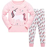 TEDD Pijamas Niña Unicornio Animales 100% Algodon Manga Larga Infantil Ropa a Juego Conjunto Edad 1-12 Años