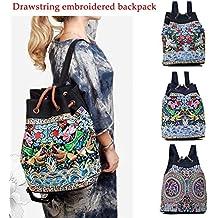 2ad0f7ba1f Ricamo zaino ragazze borse a tracolla tela vintage, stile etnico, zaino  coulisse borsa da