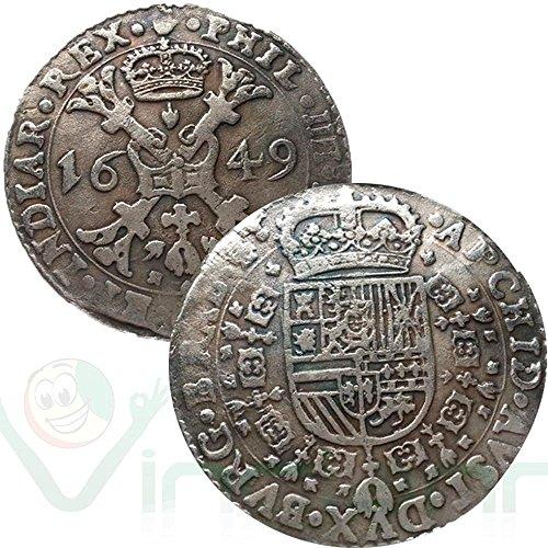 Riproduzione metallo replica moneta sacro romano impero 1649 filippo iv asburgo