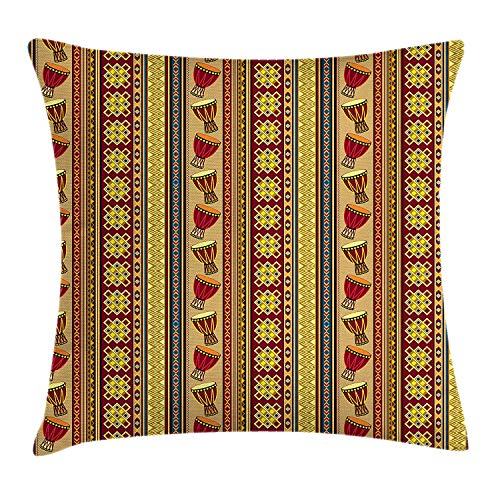 KAKICSA African Throw Pillow Cushion Cover, Oriental Djembe Drums Music Culture in Africa Theme Geometric Chevrons Triangles, Decorative Square Accent Pillow Case, 18 X 18 Inches, Multicolor (Djembe Cover)