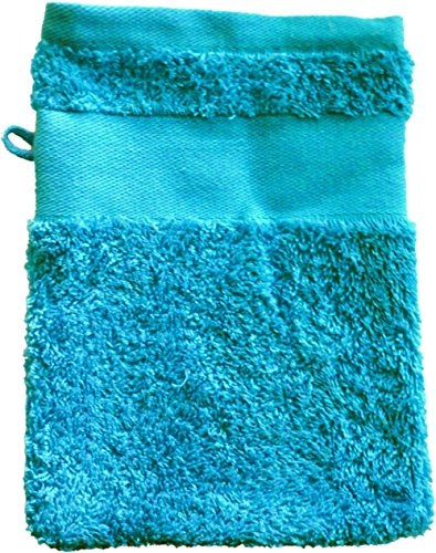 Waschhandschuh mit Ihrem Wunschtext oder Namen 21 x 16 cm / Fb. Azur