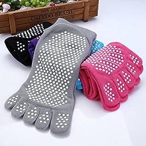 GHB Pilates Socken mit Zehen Rutschfeste Sportsocken mit Gummisohlen Atmungsaktivität ideal für Yoga Tanz Fitness von Größe 36 bis 40 (Verpackung MEHRWEG)