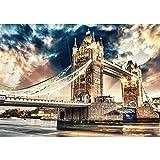 Vlies Fototapete PREMIUM PLUS Wand Foto Tapete Wand Bild Vliestapete - London Brücke Tower Bridge Fluss Wolken England - no. 2321, Größe:368x254cm Vlies