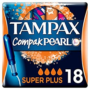 Tampax Compak Pearl Applicator Super Plus Tampons 18 Pack